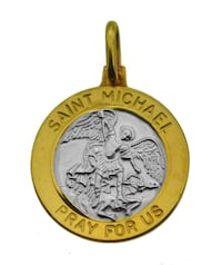 Saint Michael 24K Gold plated and Real Sterling Silver 925 Archangel charm trample Satan Jewelry PRAY FOR US