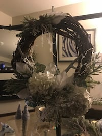 Brown wicker wreath with white flowers Calgary, T2Z