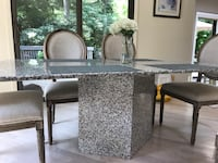 "Grey speckle granite slab top and base table(chairs not included) 39""x70"" North Caldwell, 07006"