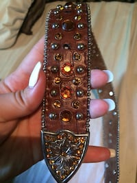 brown and black studded leather belt Miami, 74354