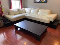 Cream & Espresso Sectional w/ coffee table