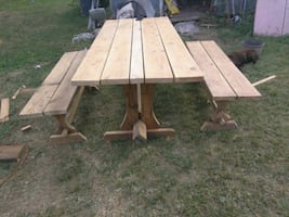 100% American handmade Church wood picnic tables and benches.