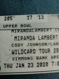 Miranda Lambert and Cody Johnson Ticket
