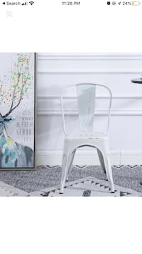 Bistro Cafe Dining Side Chairs White Distressed Chic Indoor Outdoor