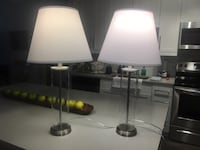 Two Glass base lamps and shades