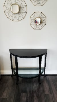 Half moon crescent table (Black w/ Glass Top) Bethesda