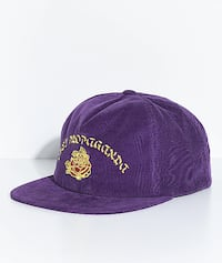 Obey Takeout Purple Corduroy Snapback Unstructured Hat Flat Bill Cotton Garden Grove