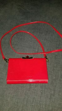 red and black leather crossbody bag Queens, 11358