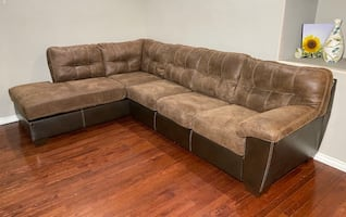 Ashley Fur. Brown Faux Leather & Microsuede 2-Piece L Chaise Sectional