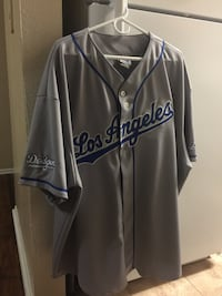 Grey and blue los angeles baseball jersey