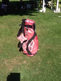 red and black golf bag