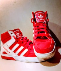 Red and white Adidas high tops Cleveland, 44135