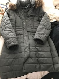 Green quilted winter coat with fur trimmed hood Burnaby, V5C