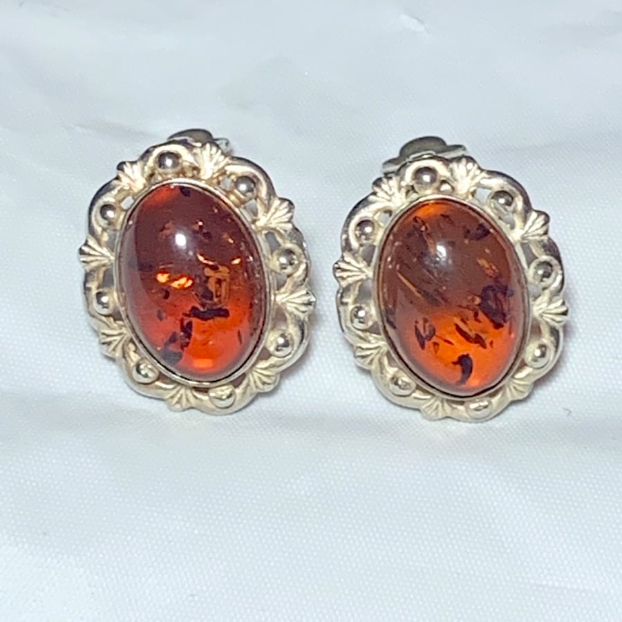 Antique Sterling Silver Baltic Amber Earrings 1