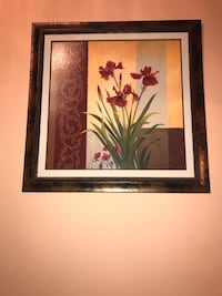 Large flower painting with brown metal frame Calgary, T3J 5A1