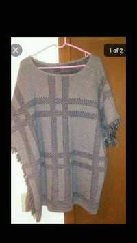 gray and white scoop-neck Fringe sleeved poncho Providence, 02904