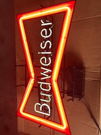 Red and white budweiser neon signage 1465 mi