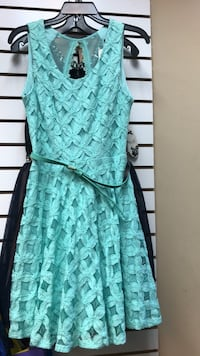 Teal and black floral spaghetti strap dress