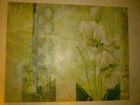 white petaled flower painting with brown wooden frame Hudson, 34667