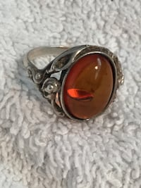 SILVER AND AMBER RING SIZE 6-7 Edmonton, T6E 0R2