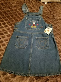 New Girls Mickey Mouse Overall Dress Size 12 Riverside, 92507