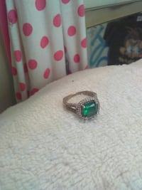 18KGP Emerald ring with diamond accent.  Russellville, 72801