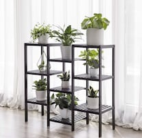 NEW Bamboo Customizable Plant Stand Flower Pots Holder Display Utility Shelf Bathroom Storage Rack