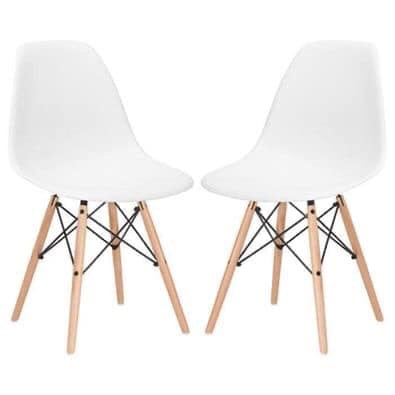 Set of 2, white chairs with wooden legs