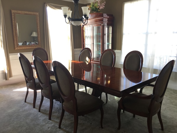 Dining Set (table, 8 chairs, & hutch) Must sell!! a345c2df-448f-4c24-810d-128dc9900711