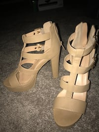 pair of beige leather open-toe platform stilettos College Station, 77845