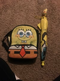 Kids spongebob backpack and umbrella