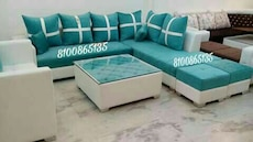 green and white sectional sofa set