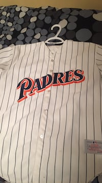 White, black and red Padres MLB baseball jersey
