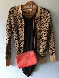 Anthropologie shirt with Target Sweater and vintage purse, ladies small Parker, 80134