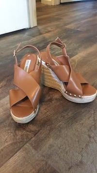 brown leather ankle strap wedge sandals Murrells Inlet, 29576