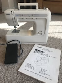 white and gray Kenmore sewing machine CHARLOTTE