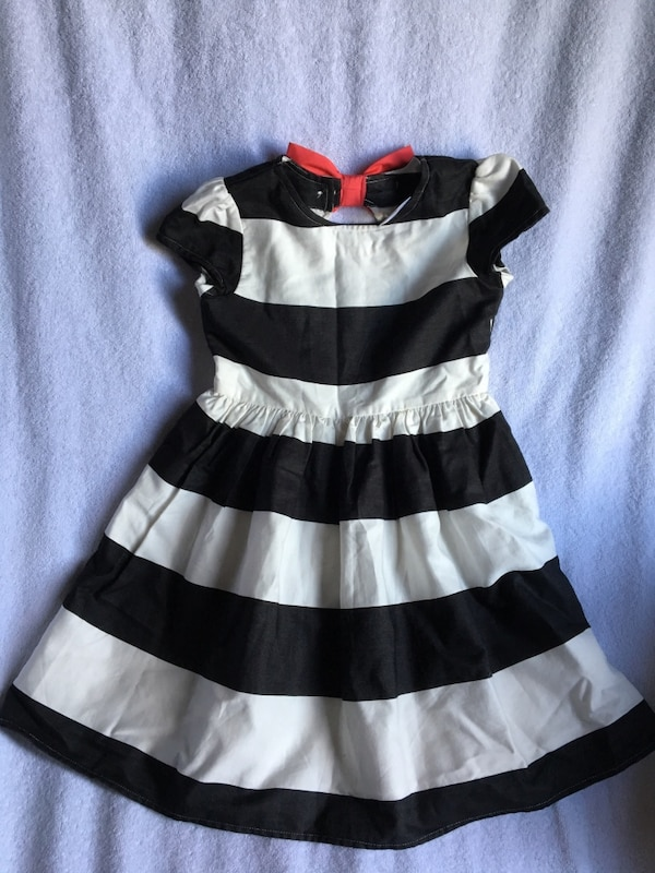 girl's black and white striped dress