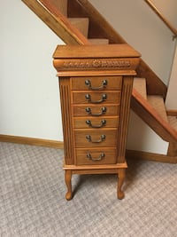 Vintage Brown Wooden Jewelry Chest Mokena, 60448