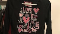 black and red Love and heart printed scoop-neck sweatshirt