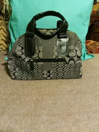 black and gray Coach monogram tote bag