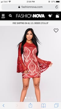 women's red and white floral dress Mississauga, L5R 2K2