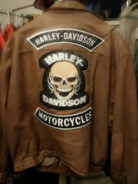 Nice Leather Jacket with Harley Davidson Patches Anderson, 46016