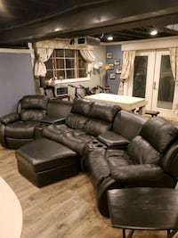 Black Leather Couch with Four Seats and Ottoman Alexandria, 22309