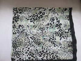 Animal Print Silk Scarf Black and Green Tones Carre en soie