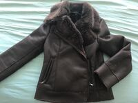Brown leather zip-up fur jacket Calgary, T2E