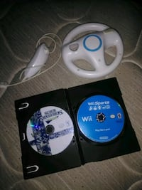 Nintendo wii games and steering wheel