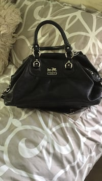Black leather coach tote bag