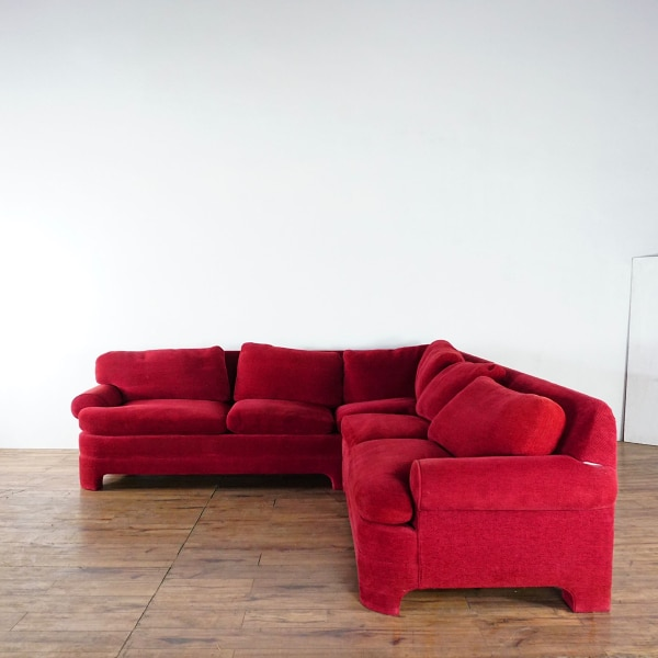 Contemporary Custom Made Red Upholstered Chenille Sectional Sofa (1021222)
