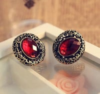 New Vintage Red Crystal Earrings Chesapeake, 23321