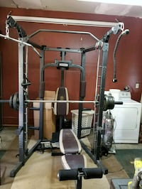 black and gray power rack